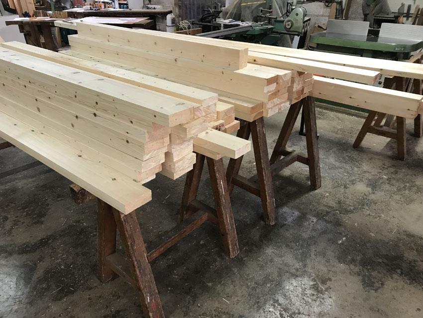 Préparation des bois pour la structure 2