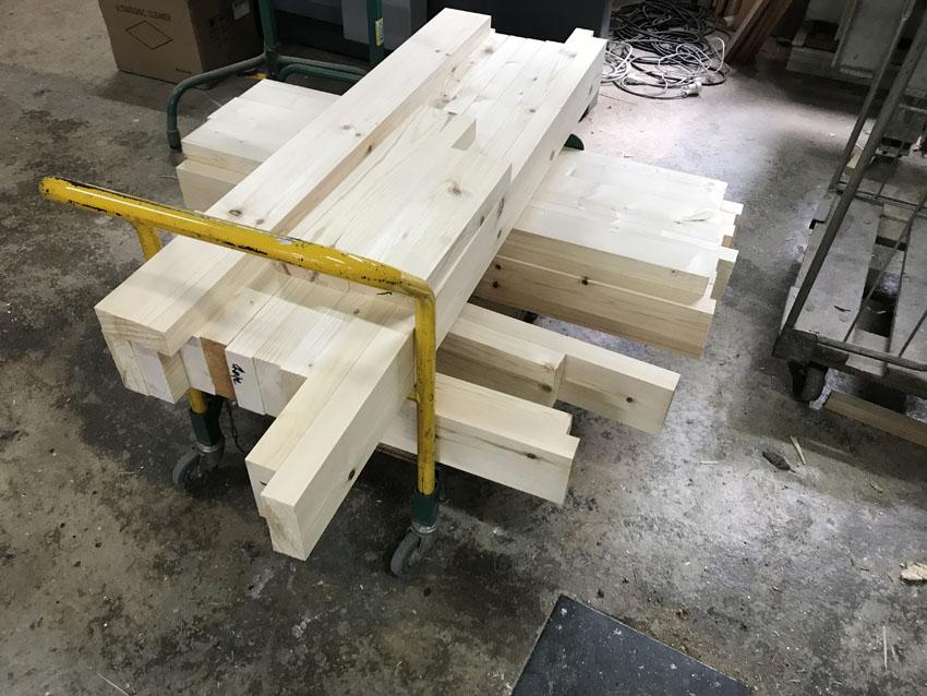 Préparation des bois pour la structure 1